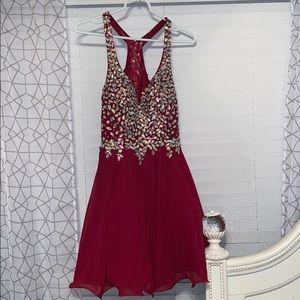 Short A-Line Beaded Bodice Prom Dress (Size Med)